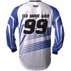 Camisa Trilha, MX, Enduro - BRANCO E AZUL YAMAHA